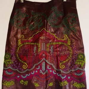 Gorgeous embroidered leather skirt- Anthropologie